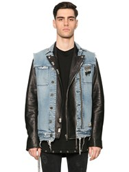 Rta Denim Vest And Leather Biker Jacket