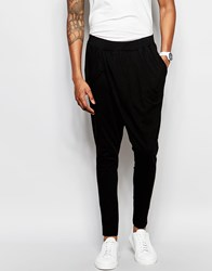 Unplugged Museum Wrap Front Skinny Joggers With Drop Crotch Black