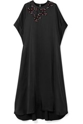 Christopher Kane Oversized Crystal Embellished Satin Maxi Dress Black