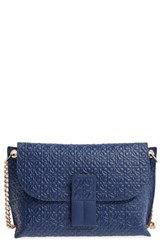 Loewe 'Avenue' Embossed Calfskin Leather Crossbody Bag Blue Navy Blue