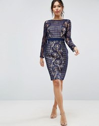 Little Mistress Lace And Mesh Pencil Dress Navy
