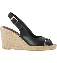 Dune Kimberly Leather Cross Strap Espadrille Wedges Black Leather