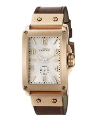 Brera 14K Rose Gold Ionic Plated Leather Rectangle Watch Brown