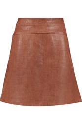 Temperley London Majorelle Croc Effect Leather Skirt Brown