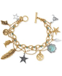 Lucky Brand Gold Tone Multi Charm Layer Bracelet Two Tone