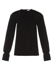 Thomas Tait Cut Out Pleated Cuff Crepe Top Black