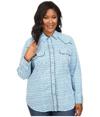Roper Plus Size 0442 Mini Ikat Print Blue Women's Clothing