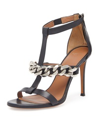 Givenchy Leather Chain T Strap Sandal Black