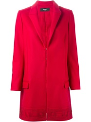 Versus Laser Cut Hem Coat Red