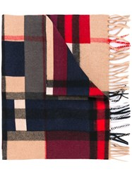 Burberry Colour Block Check Scarf Men Cashmere One Size