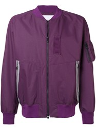 White Mountaineering Long Sleeved Bomber Jacket Pink And Purple