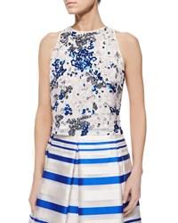 Phoebe Couture Sequined Sleeveless Crop Top Blue White