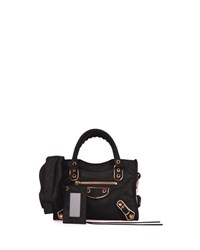Balenciaga Metallic Edge Suede Mini City Bag Noir