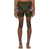 Neil Barrett Green Palm Tree Swim Shorts