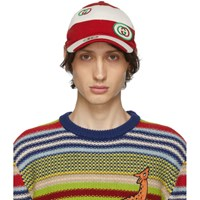 Gucci Red And Off White Gg Cap