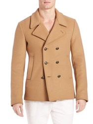 Tomas Maier Compact Wool Jacket Cuir Camel