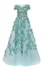 Marchesa Off The Shoulder Tulle Ball Gown Blue
