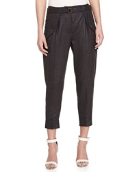 Missoni Wool Ankle Cropped Trousers Charcoal