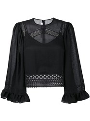 Mcq By Alexander Mcqueen Crochet Detail Blouse Black
