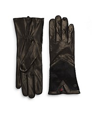 Vince Camuto Calf Hair And Leather Gloves Black