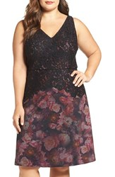 Adrianna Papell Plus Size Women's Mixed Media Floral Fit And Flare Dress
