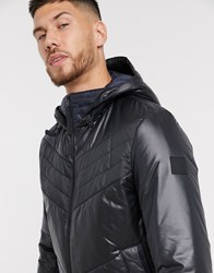 Boss Opalm Quilted Jacket With Hood In Black