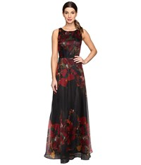 Tahari By Arthur S. Levine Organza Floral Gown Black Scarlet Forest Women's Clothing Black Scarlet Forest