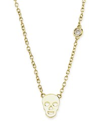 Gold Skull Pendant Bezel Diamond Necklace Shy By Sydney Evan
