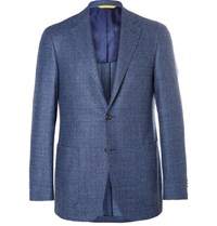 Canali Blue Kei Slim Fit Super 120S Wool Boucle Blazer Blue