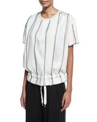 Dkny Short Sleeve Paneled Satin Drawstring Top Gesso