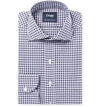 Drakes Drake's Blue Slim Fit Gingham Cotton Poplin Shirt Navy