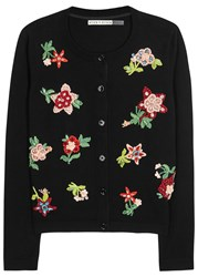 Alice Olivia Ruthy Appliqued Cotton Blend Cardigan Black