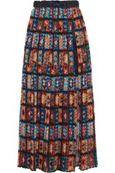Sacai Shell And Lace Trimmed Pleated Printed Chiffon Maxi Skirt Red