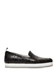 Roberto Cavalli Croc Embossed Leather Slip On Sneakers Black