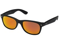 Ray Ban Rb2132 New Wayfarer 55Mm Rubber Black Frame Brown Mirror Red Lens Fashion Sunglasses