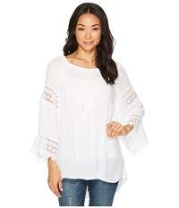 Scully Drusilla High Low Crocheted Sleeve Top White Clothing