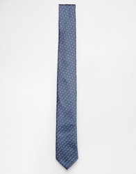 French Connection Multi Dot Slim Tie Blue