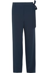 Tibi Tie Side Silk Crepe De Chine Wide Leg Pants Midnight Blue