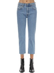 Levi's 501 High Rise Cropped Stretch Jeans Light Blue