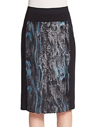 Bcbgmaxazria Ines Faux Fur Panel Ponte Knit Skirt Soft Teal Multi