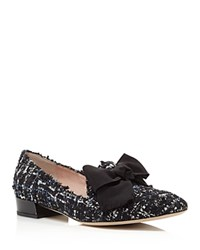 Kate Spade New York Gino Tweed Bow Loafers Blue