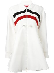 Moncler Gamme Rouge Striped Flared Coat White