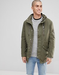 Only And Sons Light Weight Parka With Multi Pockets Olive Night Green