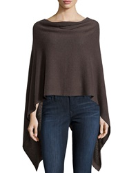 Minnie Rose Cashmere Cowl Neck Asymmetric Hem Poncho French Gre