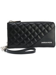 Dsquared2 Large Icon Zip Wallet Women Calf Leather One Size Black