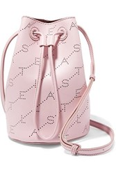 Stella Mccartney Net Sustain Mini Perforated Faux Leather Bucket Bag Pink