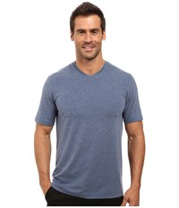 Travis Mathew Uncle Bob 2.0 Heather Dark Denum Men's Short Sleeve Knit Blue