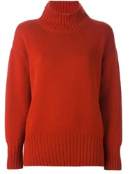 Malo Roll Neck Ribbed Pullover Yellow And Orange