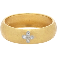 Cathy Waterman Diamond And Hammered Gold Band