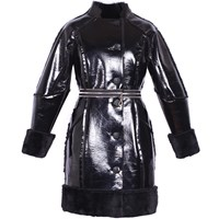 Ardent And Co Metallic Black Faux Rabbit Fur Leather Coat